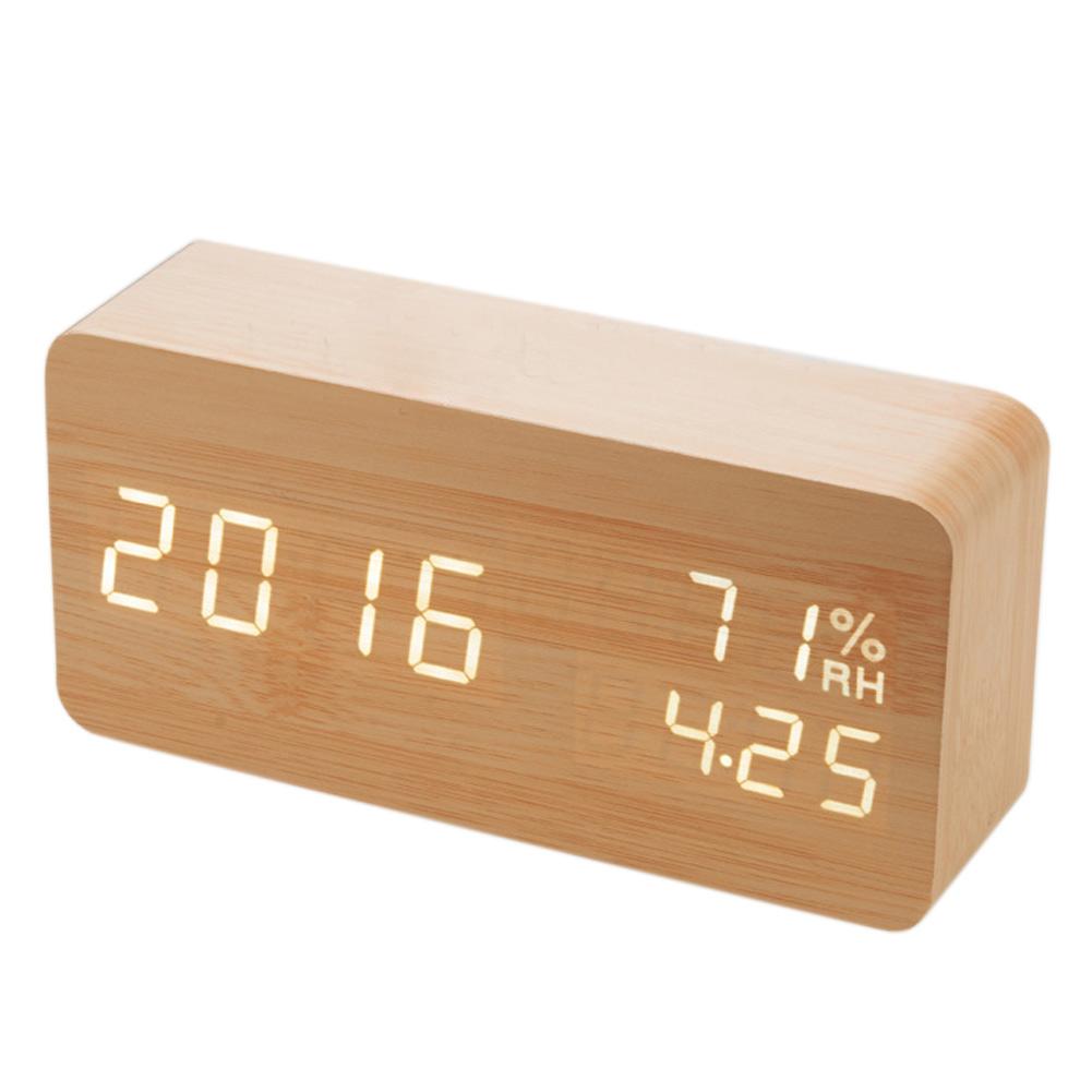 Uncategorized Wood Alarm Clock smart home digital led wood alarm clock voice control timer voice