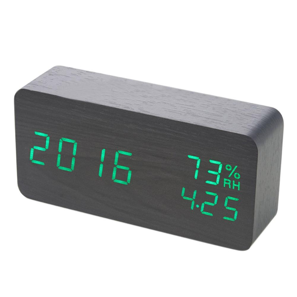 Modern Wooden Wood Digital Led Desk Voice Control Alarm