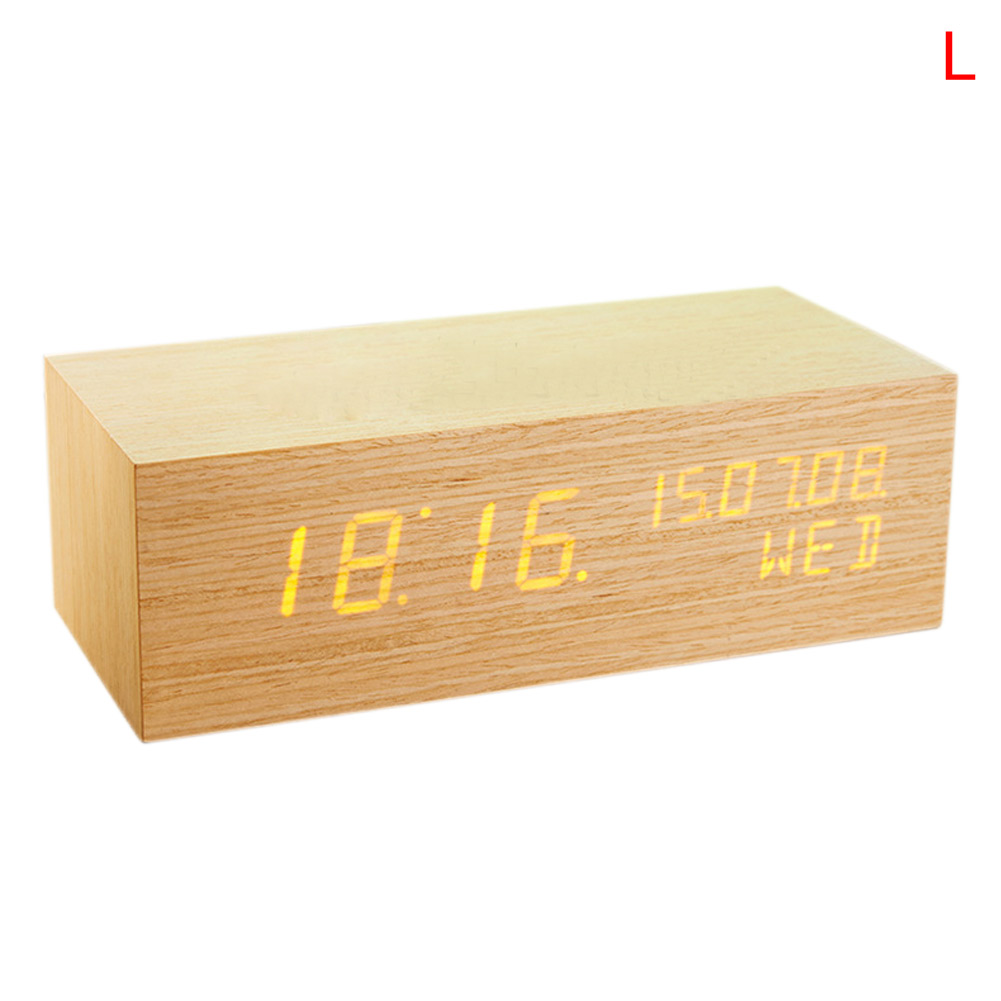 Uncategorized Wood Alarm Clock luminous wooden wood digital led desk alarm clock thermometer clock