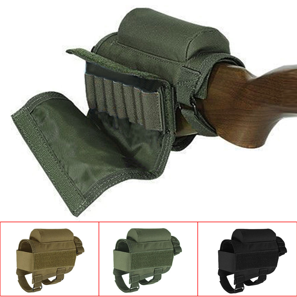 Portable Adjustable Tactical Butt Stock Rifle Cheek Rest Pouch Holder