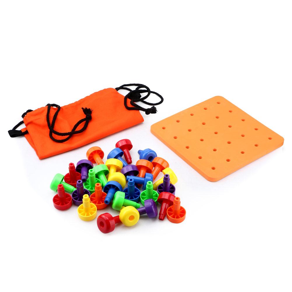 30pcs Peg Board Montessori Occupational Therapy Motor Toy
