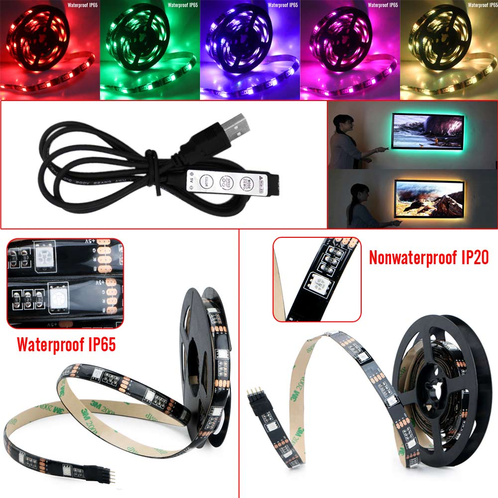 5V Multicolor Manual Control Led Strip Light USB Power TV Backlighting