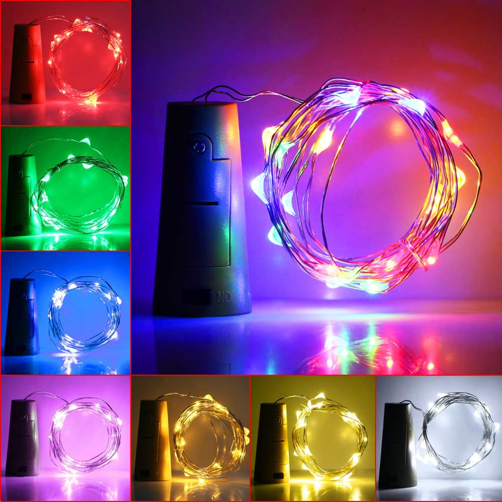 2M 20Led Wine Bottle Cork Spark Starry String Light Lamp Party Decoration