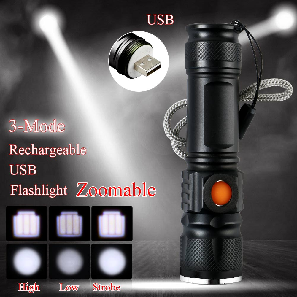 Q5-2000LM-USB-Rechargeable-Portable-Bright-LED-Emergent-Flashlight-Torch thumbnail 4
