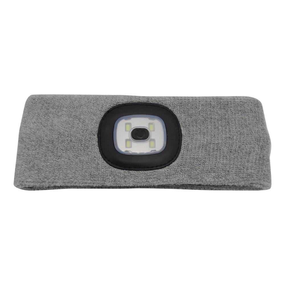 Wholesale Outdoor Fishing Rechargeable Led Flashing Headband Wrap Knit Light Gray