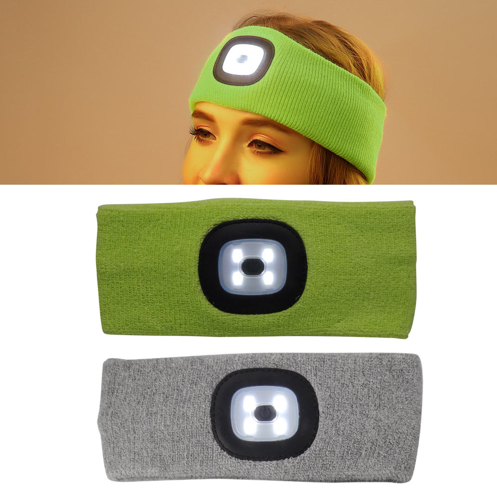 Outdoor Hunting Fishing Rechargeable Led Flashing Headband Wrap Knit Light