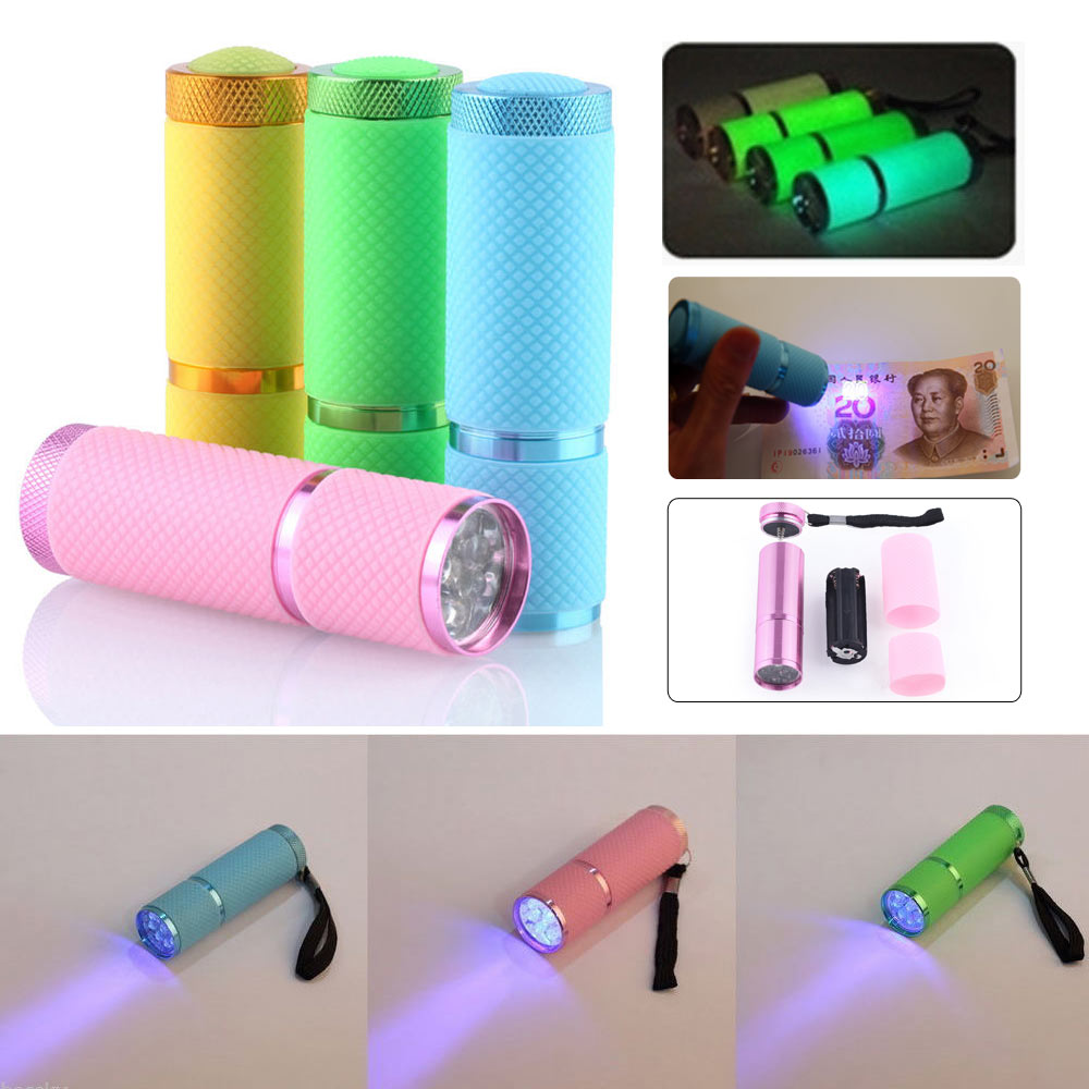Portable Multifunction UV Ultra Violet 9LED Flashlight Backlight Torch 395n
