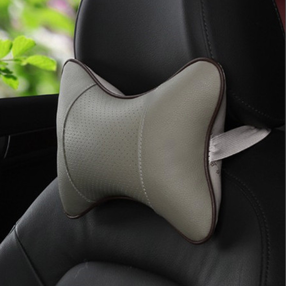 Wall Stickz Car Sales 2 PCS Genuine Leather Bone-Shaped Car Seat Pillow Beige Neck Rest Headrest Comfortable Cushion Pad with Logo Pattern fit Volkswagen