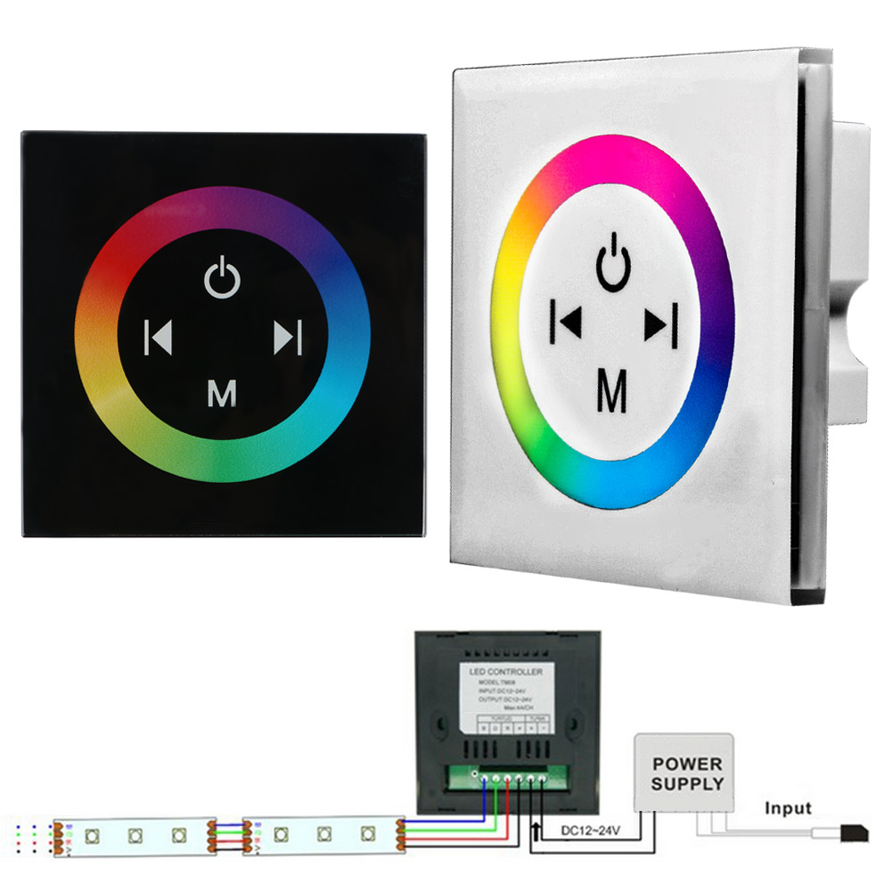 12a touch dimmer schalter controller f r rgb 3528 led streifen licht dc12 24v ebay. Black Bedroom Furniture Sets. Home Design Ideas