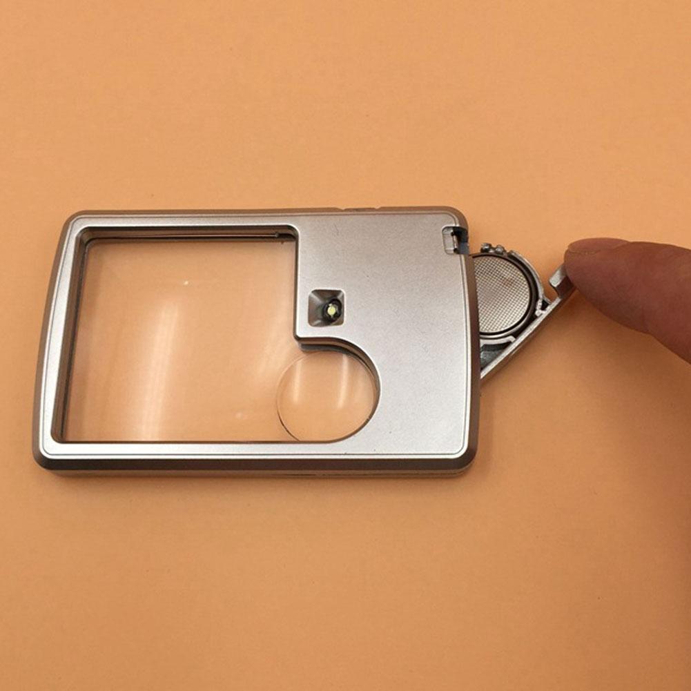 Tragbare Ultra Thin 3X 6X LED quadratische Kreditkarte Taschen Lupe Lupen