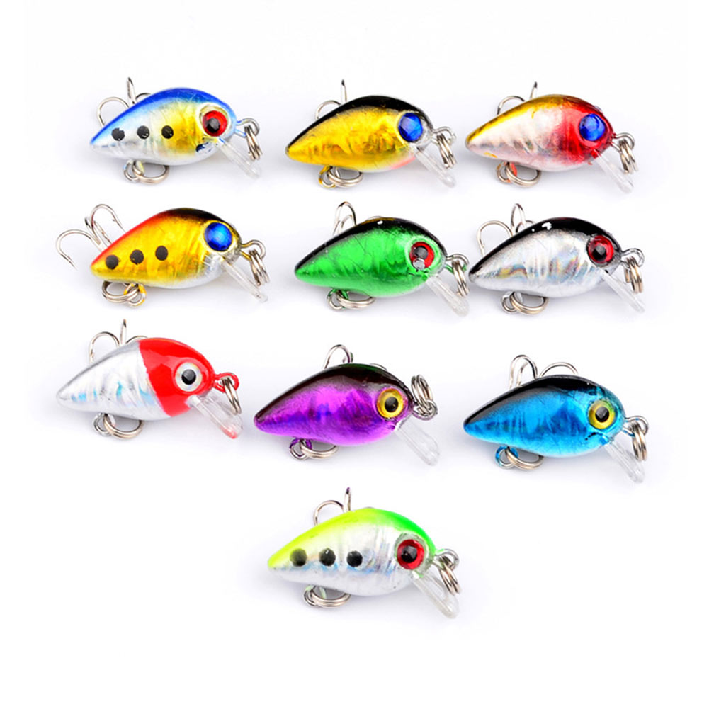10pc 10# Hook Mini Fishing Lures Floating Micro Bass Bait CrankBait Treble Lures