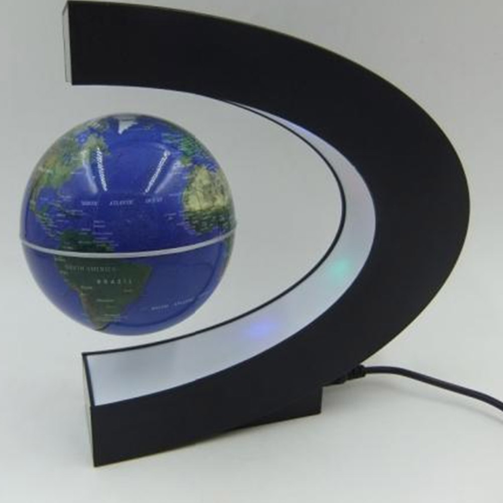 Magnetic Levitation Floating Globe World Map C Shape Led Light Office Decoration Ebay