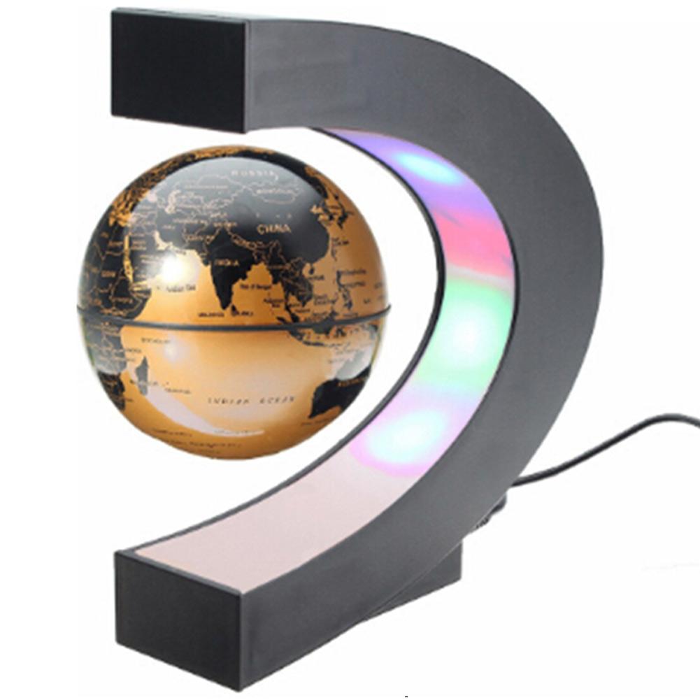 C Shape Magnetic Levitation Floating Globe Rotating World Map W/Led Light