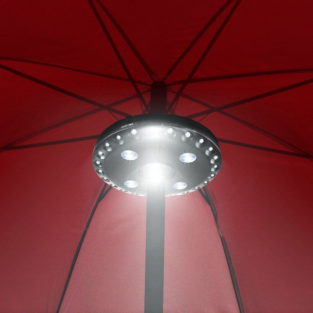 28 LED Outdoor Umbrella Night White Lamp Pole Light Patio