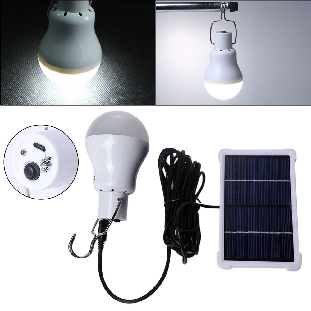 Portable 150lm 12Led Solar Energy Charge Light Bulb Camping Emergency Lamp