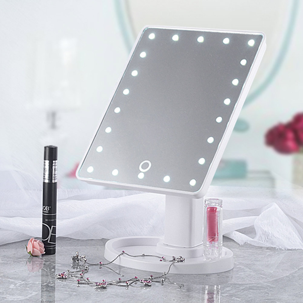 22 led 360 touch screen makeup mirror tabletop cosmetic. Black Bedroom Furniture Sets. Home Design Ideas
