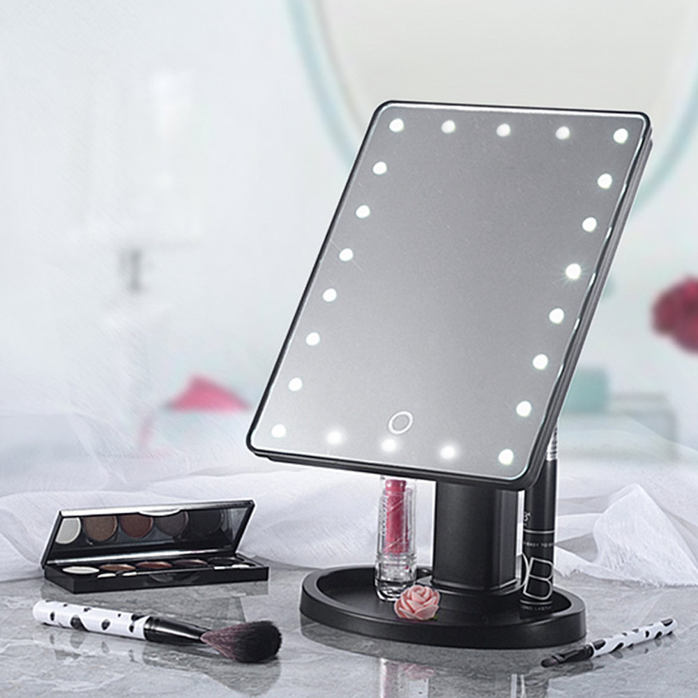 22 led 360 touch screen makeup mirror tabletop cosmetic for Mirror screen