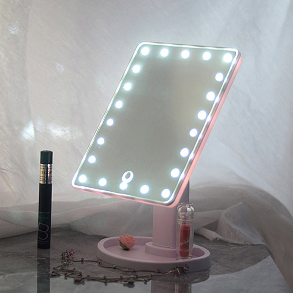 Adding Vanity Lights To Mirror : 20 LED Lights Vanity Makeup Mirror Touch Screen Lighted Tabletop Cosmetic Mirror eBay