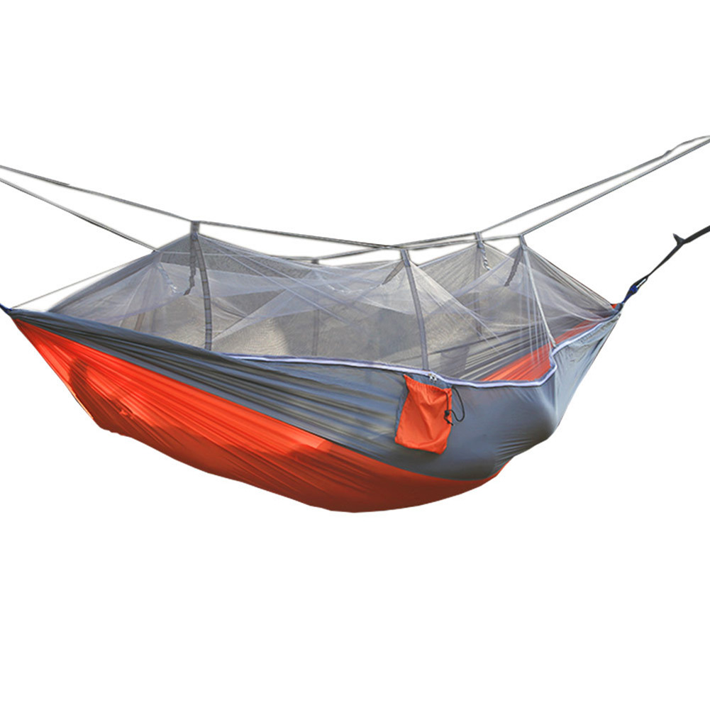 Sleeping Bags Popular Brand 260x140cm Portable Parachute Fabric Camping Hammock Hanging Bed With Mosquito Net Sleeping Hammock Outdoor Hamaca Warm And Windproof