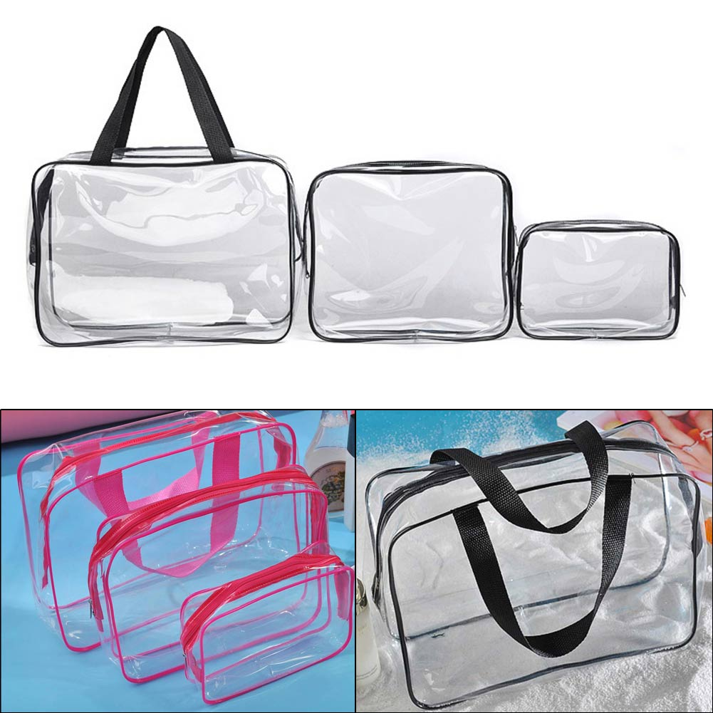 3 pcs clear pvc travel wash bag cosmetic makeup toiletry holder image is loading 3 pcs clear pvc travel wash bag cosmetic gumiabroncs Image collections
