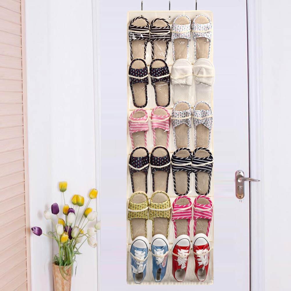 Over The Door Shoe Rack 24pocket Wall Hanging Storage