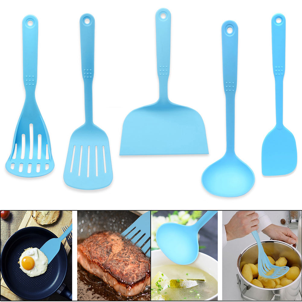 5pc Heat-resistant Non-stick Silicone Cooking Cookware Utensil Tool Set