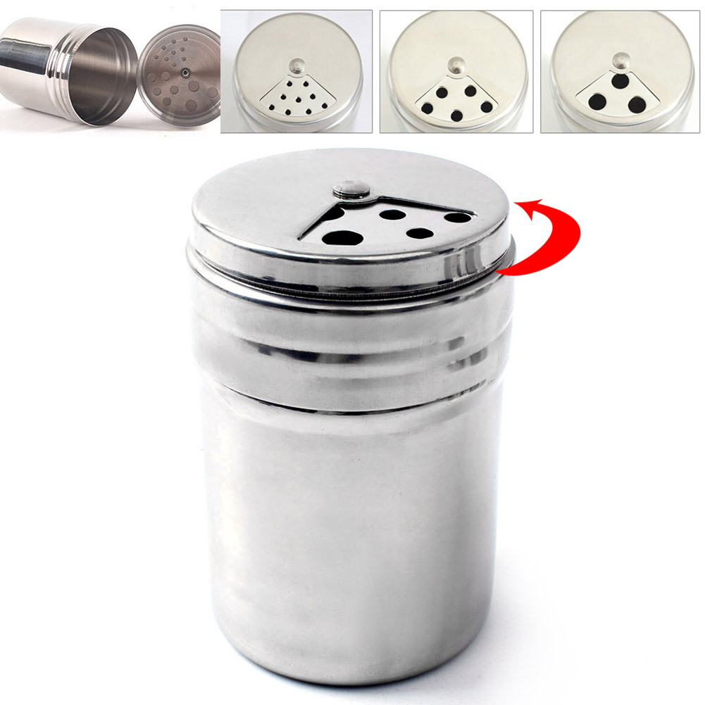 Stainless Steel Dredge Salt Sugar Spice Pepper Shaker Seasoning Can