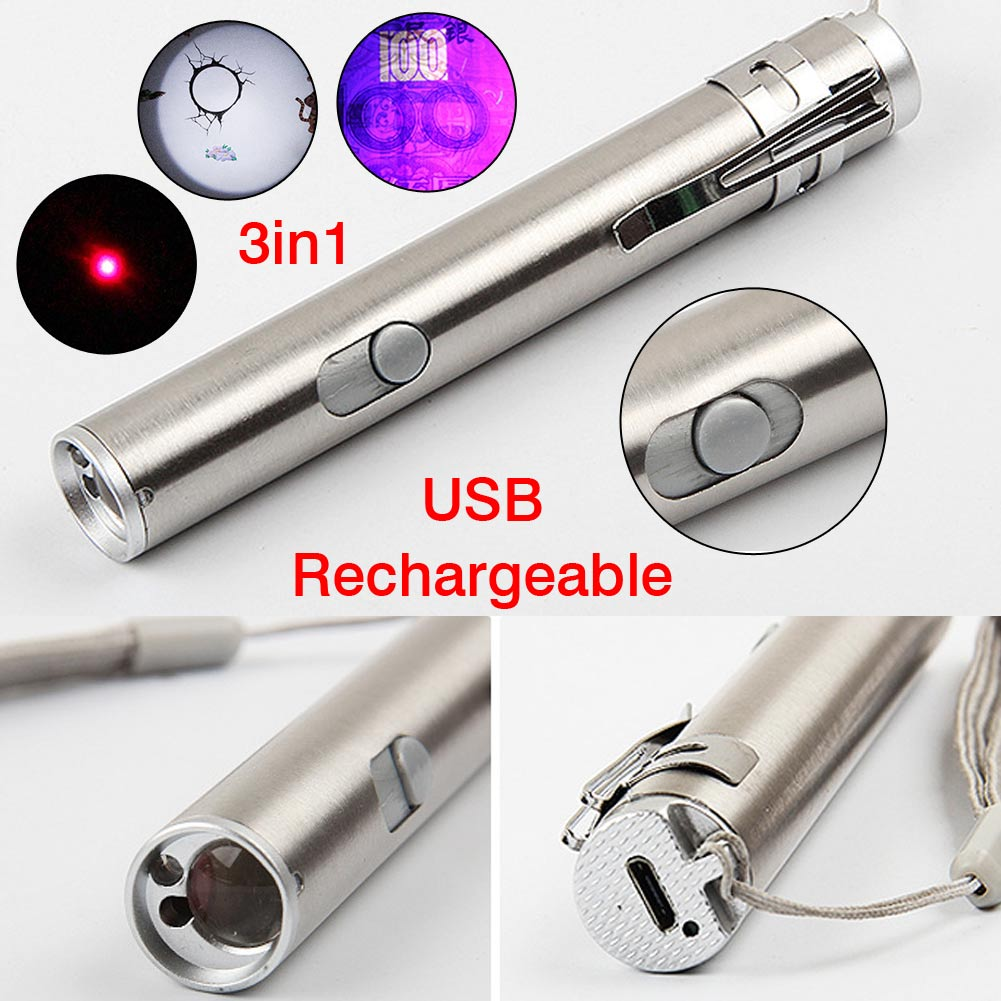 3in1 Mini Multifunction USB Rechargeable LED Laser Flashlight Torch Lamp Light