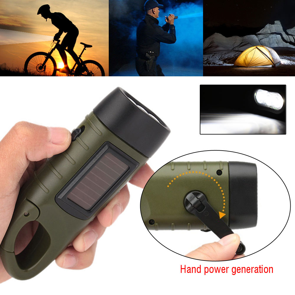 Hand Crank Solar Powered Rechargeable LED Camping EmergencyFlashlight Torch