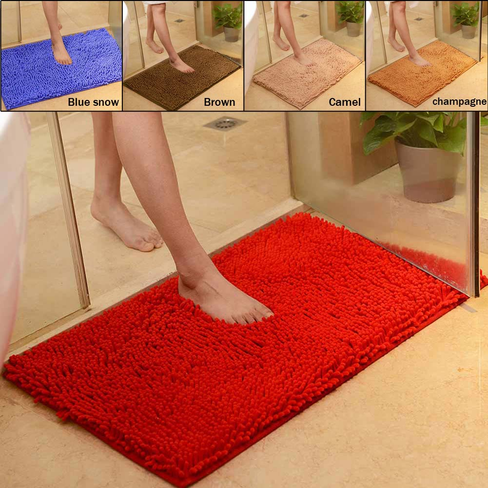 Microfiber Chenille Soft Absorbent Non-slip Carpet Bath Mat Bedroom Rug Pad