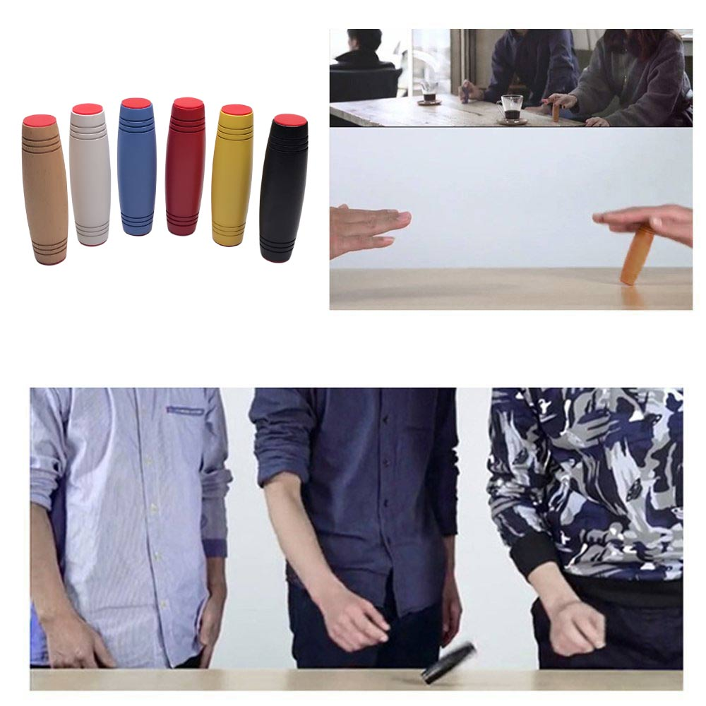 Fidget Roller Stick Tabletop Flip Trick Rolling Tumbler Wooden Hand Toy
