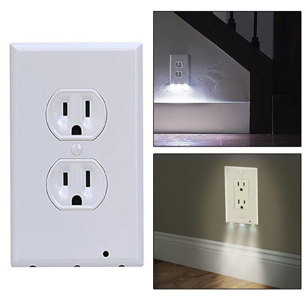 Wall Lamps With Outlets : 2 in 1 Night Angel Bathroom Light Sensor LED Plug Cover Wall Outlet Coverplate eBay