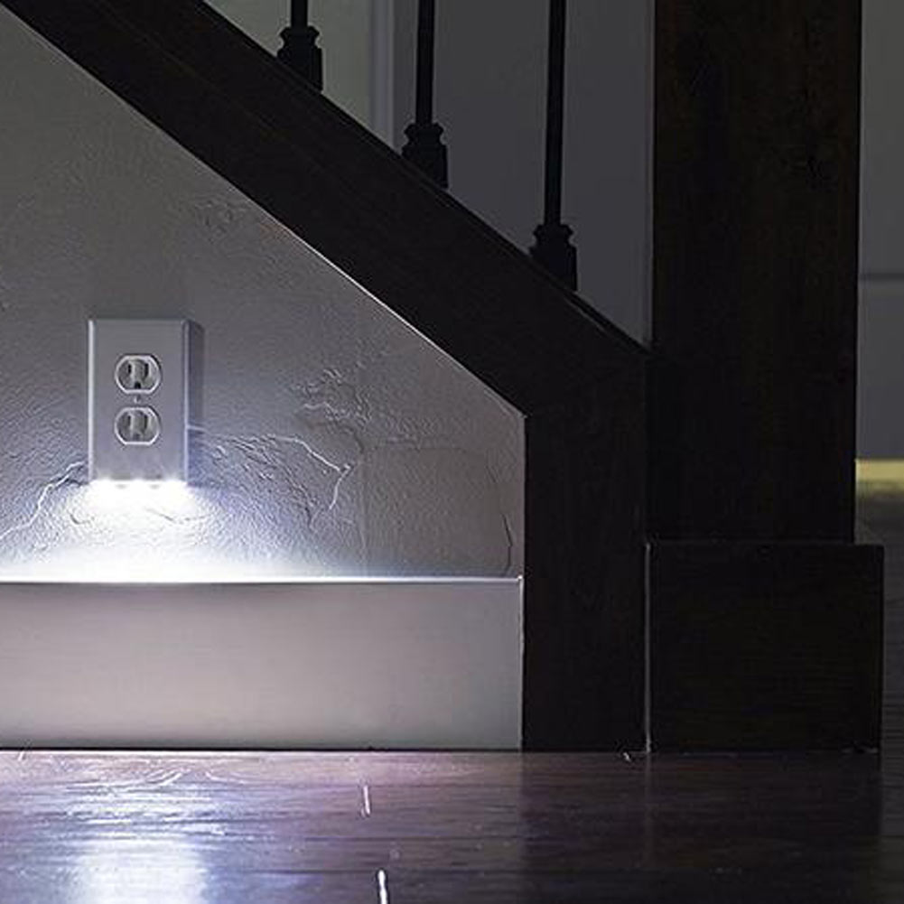 2in1 Duplex Bathroom Night Light Sensor Led Plug Cover Wall Outlet Coverplate Ebay