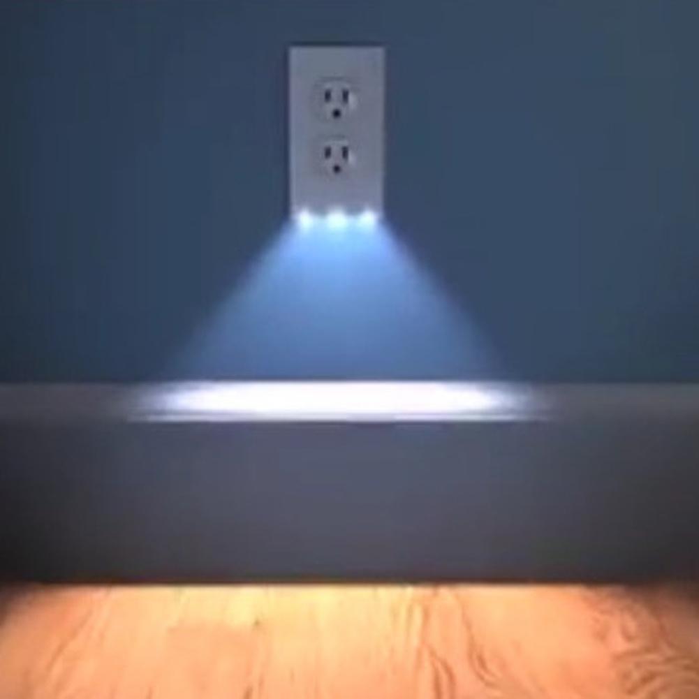 2in1 duplex bathroom night light sensor led plug cover. Black Bedroom Furniture Sets. Home Design Ideas