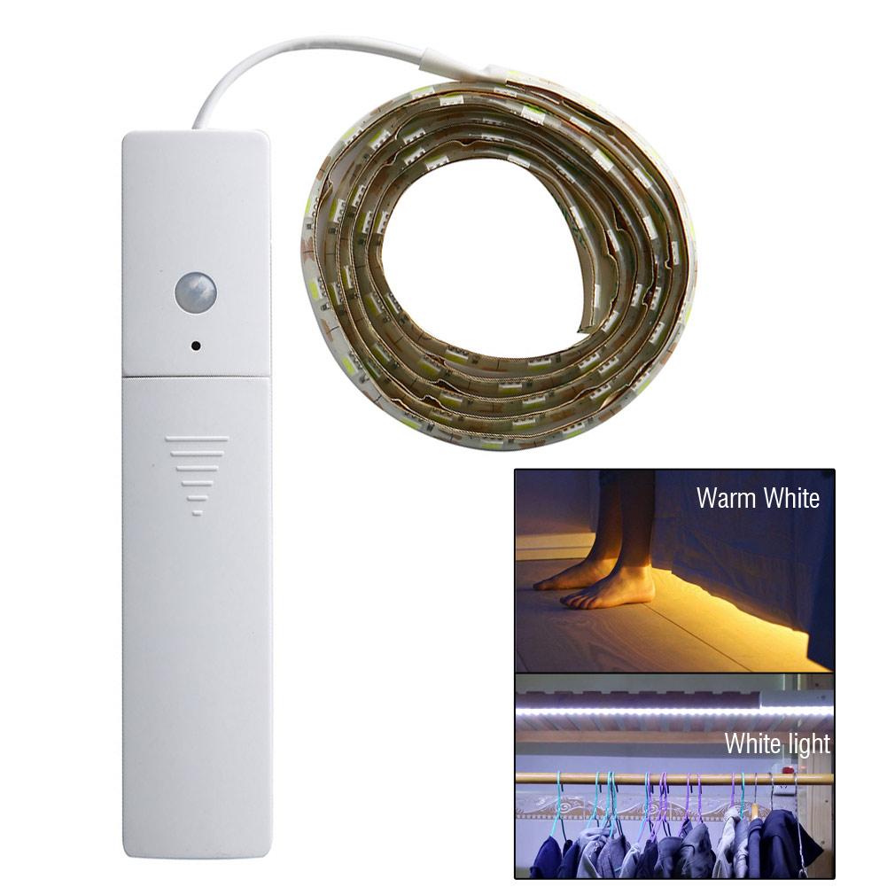 Flexible PIR MotionActivated 60LED Light SensorLamp Strip for CabinetCloset