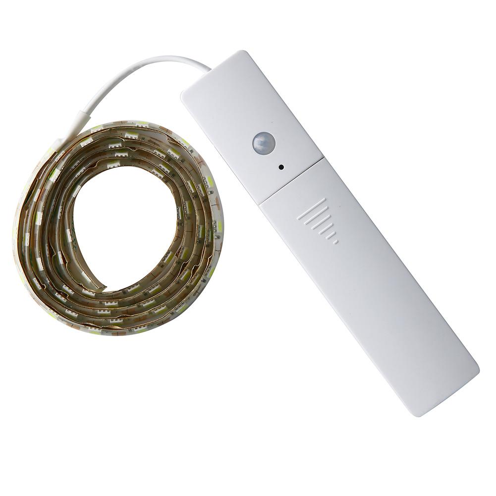 1m led stripe mit pir bewegungsmelder lichtband streifen batteriebetrieb band ebay. Black Bedroom Furniture Sets. Home Design Ideas