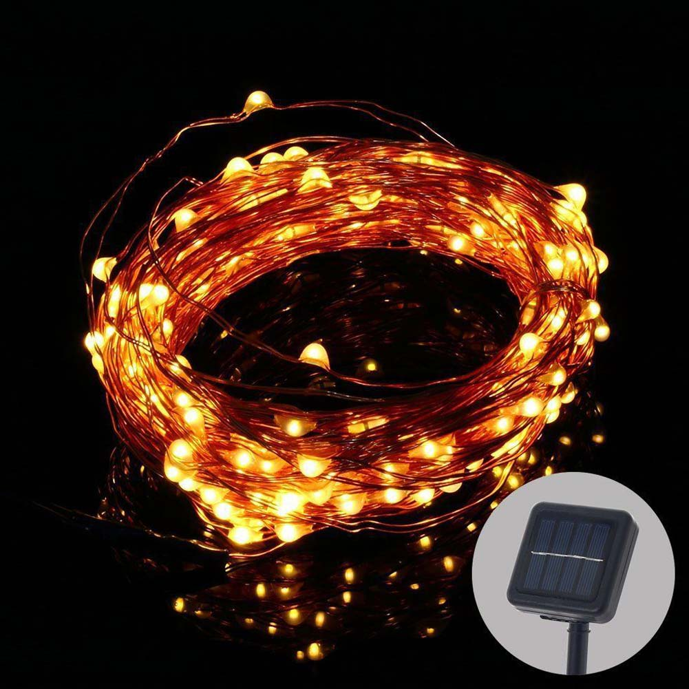 10m 100led Solar Copper Wire Starry String Light Wedding Party Home Decoration Ebay