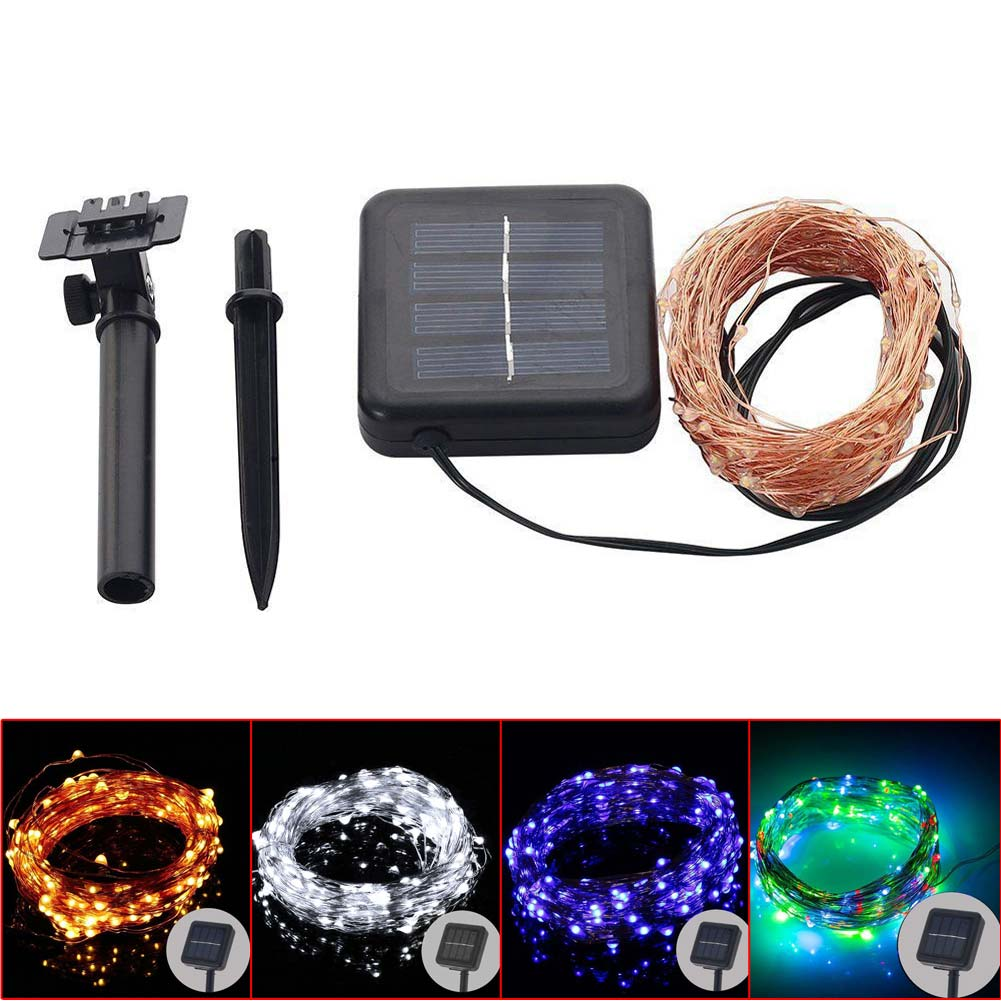 10M 100LED Solar Copper Wire Waterproof Starry String Light Decoration