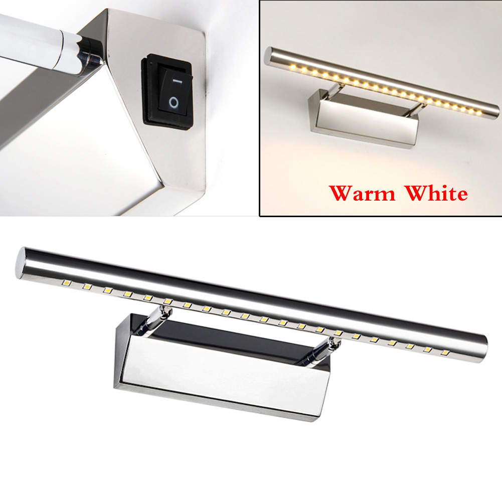 5w Bathroom Wall 21led Mirror Front Light Lamp With Switch Stainless Steel Light Ebay