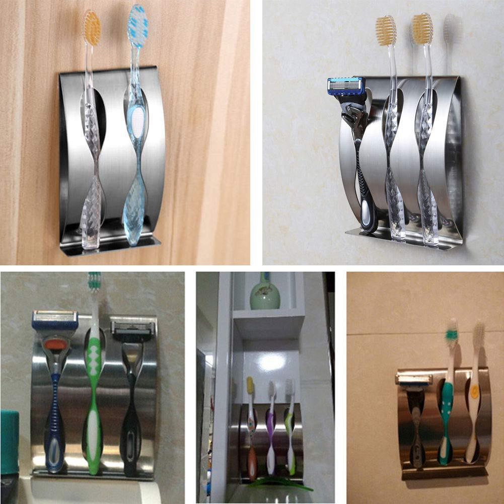 No Drill Stainless Steel Toothpaste Dispenser 2/3Position Toothbrush Holder
