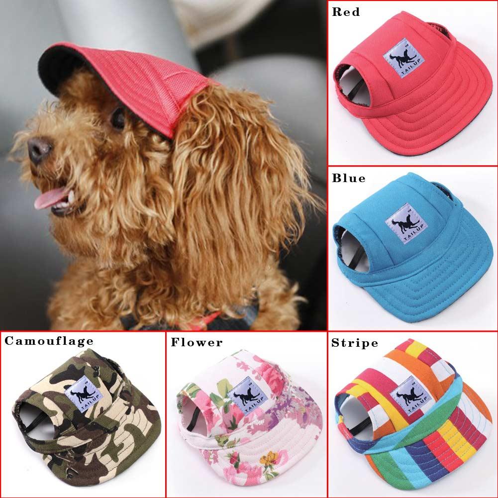8632c72d Details about Canvas Summer Small Pet Dog Cat Baseball Visor Hat Puppy Cap  Outdoor Sunbonnet