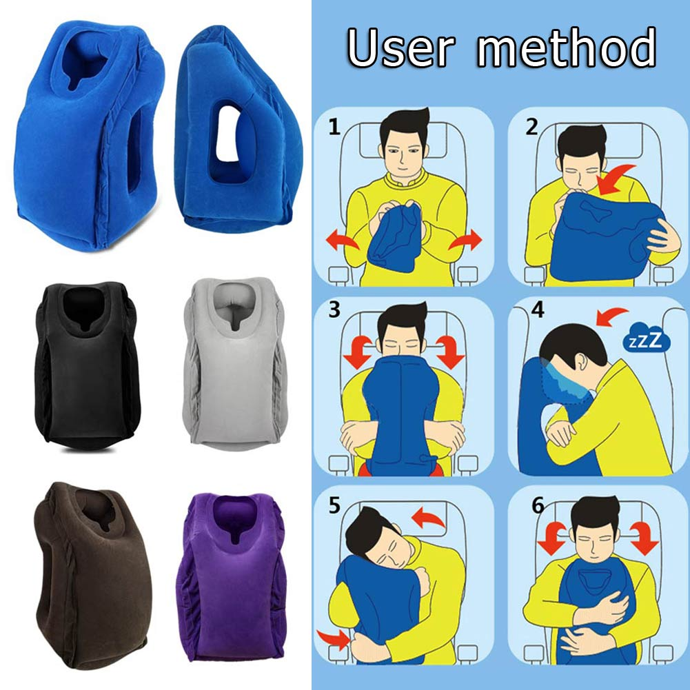 Portable PVC Flocking Soft Travel Head Neck Rest Support Cushion Pillow