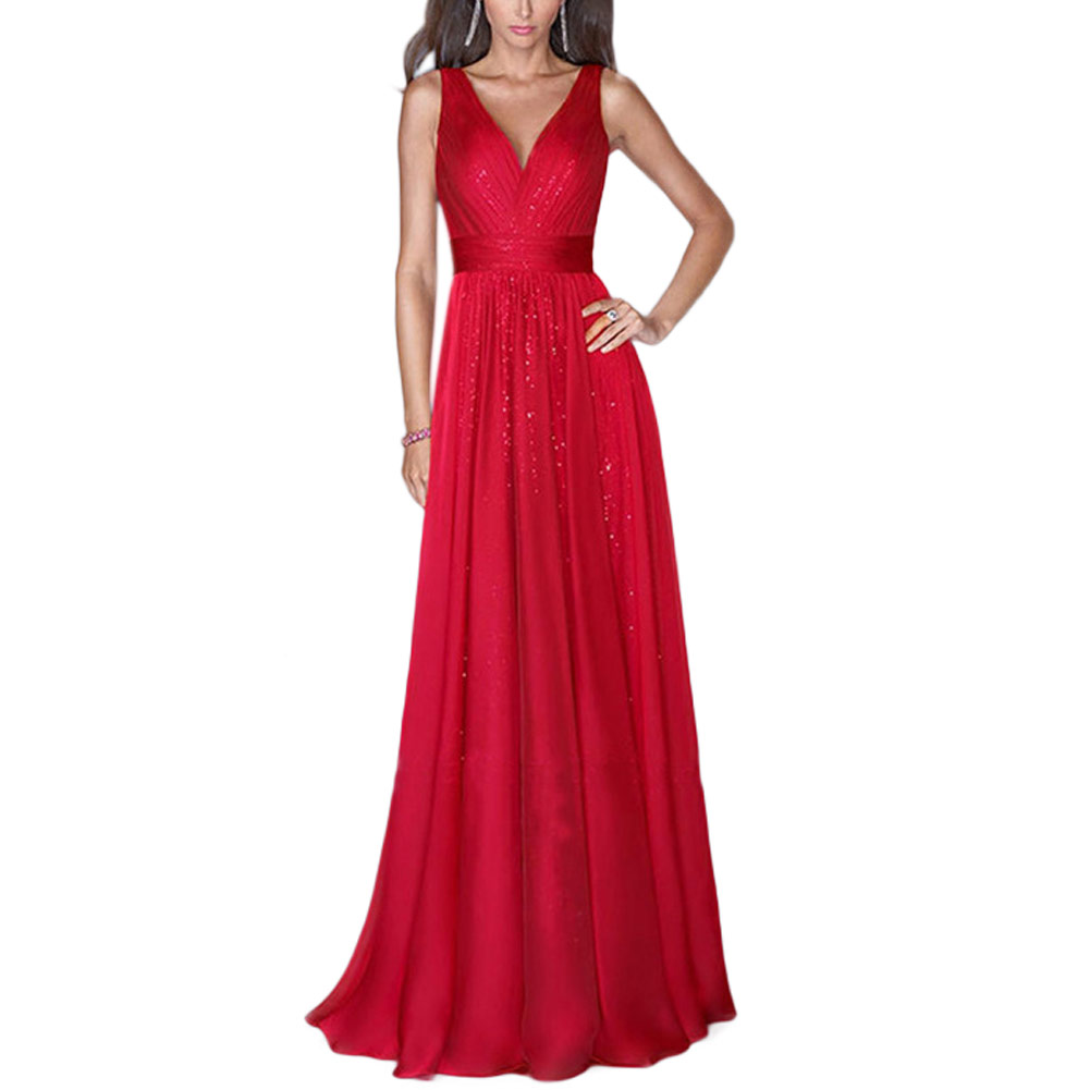 Formal wedding evening cocktail party sleeveless maxi for Maxi dresses for wedding party