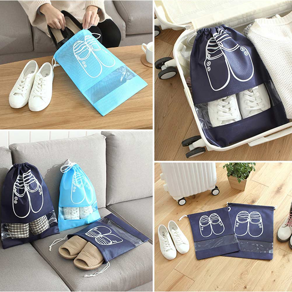 Portable PVC Travel Shoe Bag Zip View Window Pouch Storage Waterproof Bags