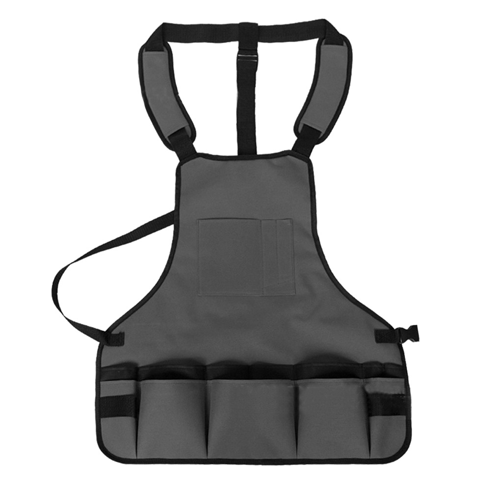 Wholesale Outdoor MultifunctionAdjustable BBQ Garden Tool ApronVest Bib W/Pocket Gray