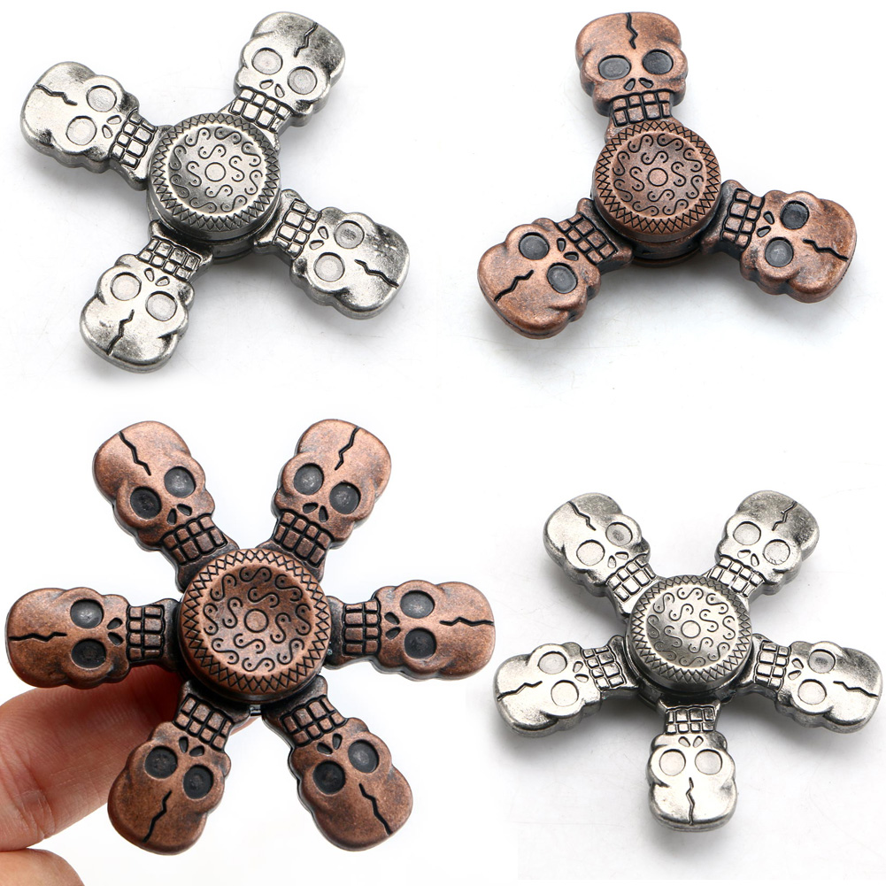 Metal Skull Head Hand FingerSpinner EDC Focus Autism Gyro Toy StressReducer