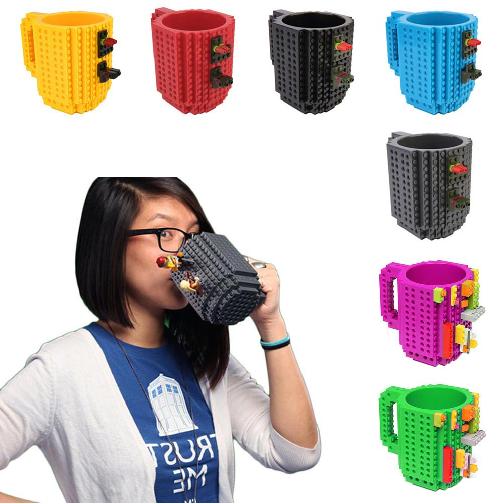 Build-on Brick CoffeeCup DIY Block PuzzleTea BeverageMug Christmas Gift Toy