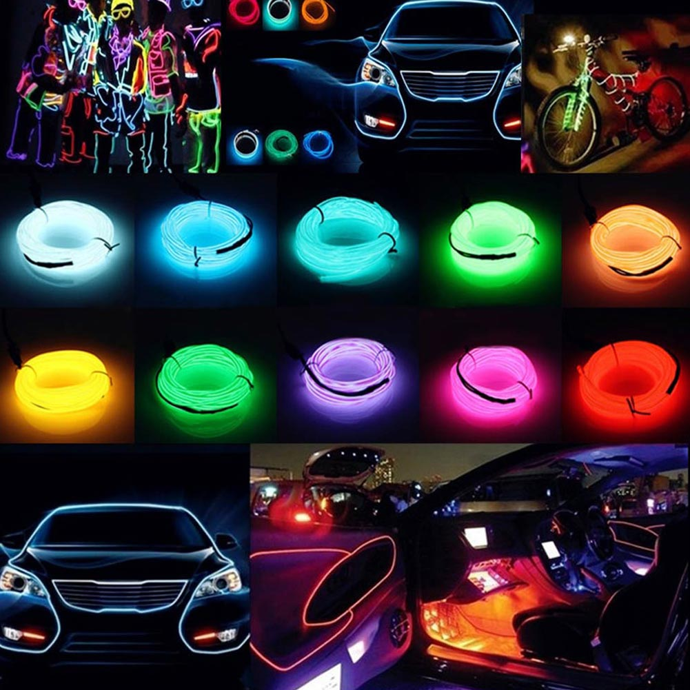 5M EL-KABEL 12V Neon Lichtschnur Leuchtschnur Leuchtdraht Wire Light ...