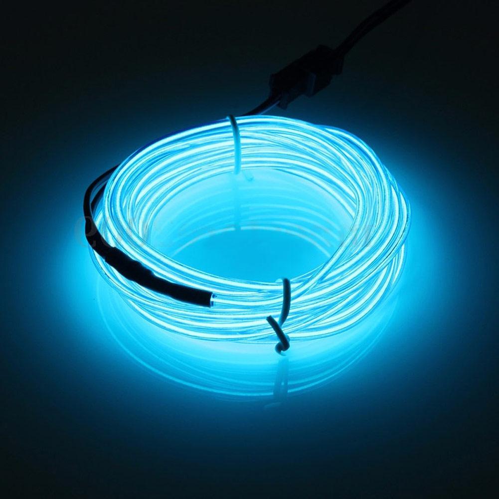 Blue 5M EL-Kabel 12V Neon Lichtschnur Leuchtschnur Leuchtdraht Wire ...