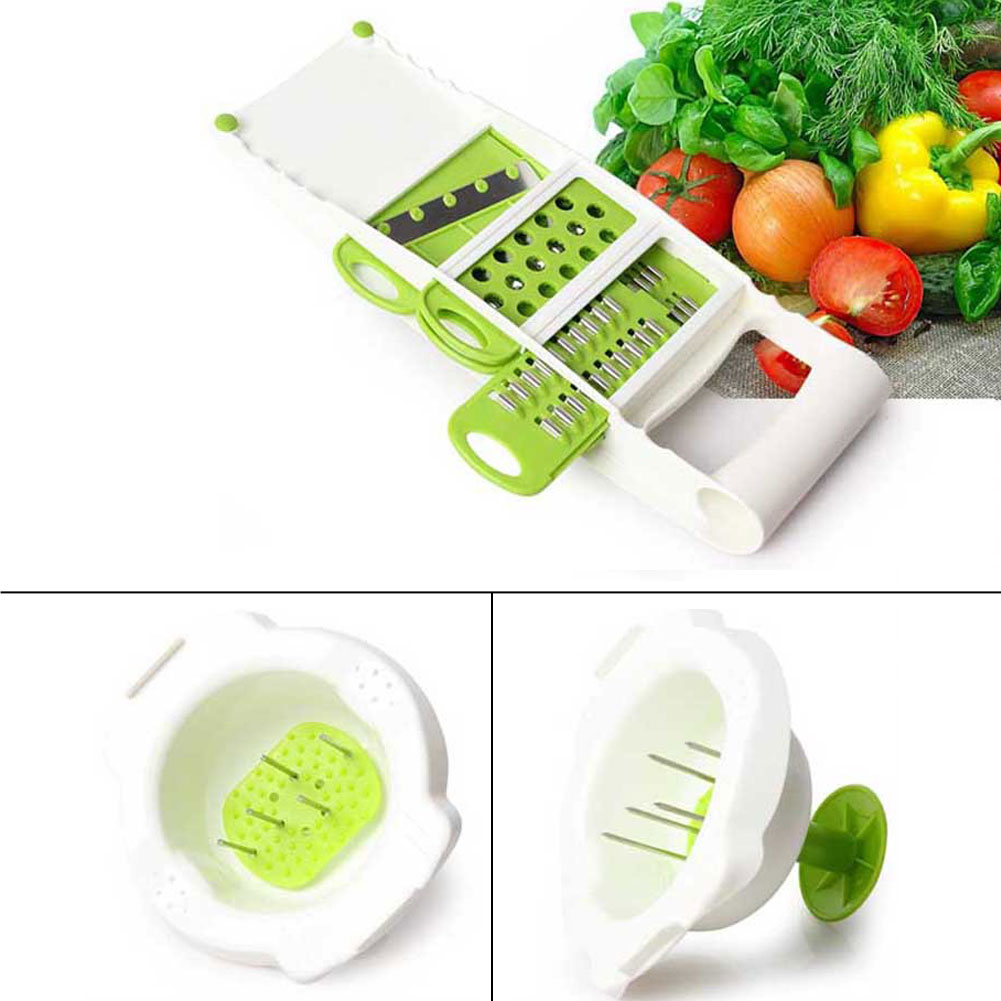 5pc/Set Multifunction Fruit Vegetable Slicer Stainless Steel Cutter Crater